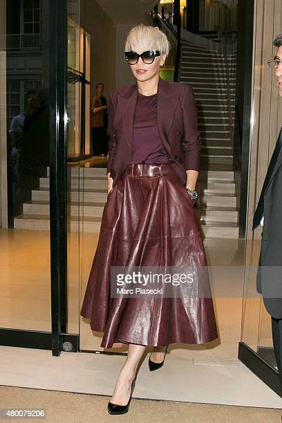 Singer Rita Ora is seen leaving the 'CHANEL' Cambon store on July 9 2015 in Paris France