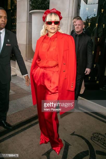 Singer Rita Ora is seen leaving the Four Seasons George V hotel on September 29, 2019 in Paris, France.