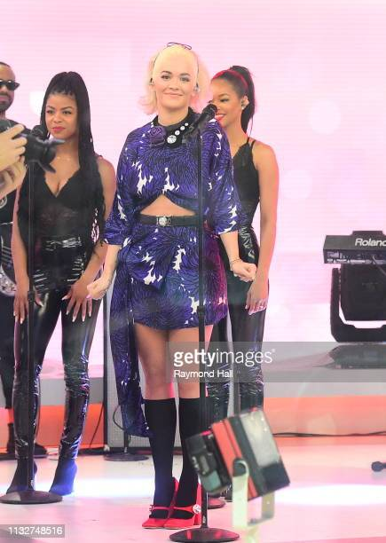 Singer Rita Ora is seen on the set of the today show on March 25, 2019 in New York City.