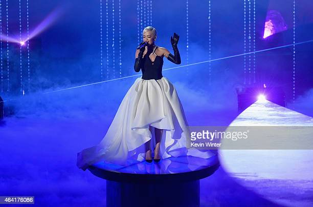 """Singer Rita Ora perfoms """"Grateful"""" from """"Beyond the Lights"""" onstage during the 87th Annual Academy Awards at Dolby Theatre on February 22, 2015 in..."""