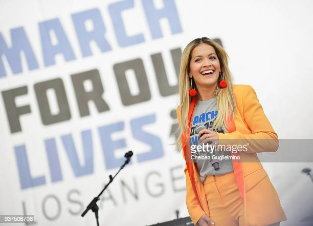 Singer Rita Ora performs at March For Our Lives Los Angeles on March 24, 2018 in Los Angeles, California.