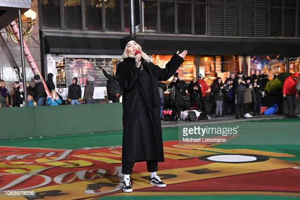 Singer Rita Ora performs during the 92nd Annual Macy's Thanksgiving Day Parade day two of rehearsals on November 20 2018 in New York City