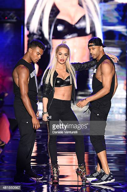 Singer Rita Ora performs on stage during Tezenis Fashion Show on July 22 2015 in Verona Italy