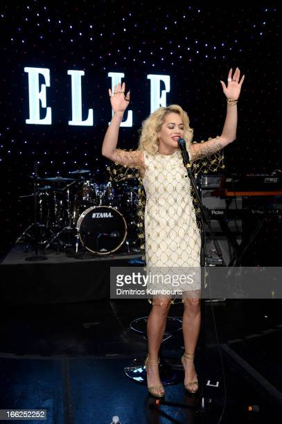 Singer Rita Ora performs onstage at the 4th Annual ELLE Women in Music Celebration at The Edison Ballroom on April 10 2013 in New York City