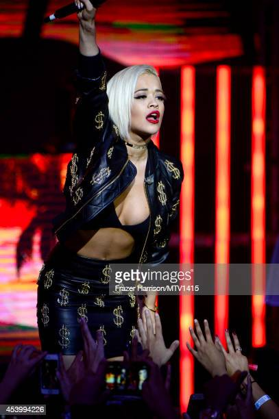 Singer Rita Ora performs onstage during a 2014 'MTV Video Music Awards' concert with Sam Smith And Iggy Azalea presented by Time Warner Cable and...
