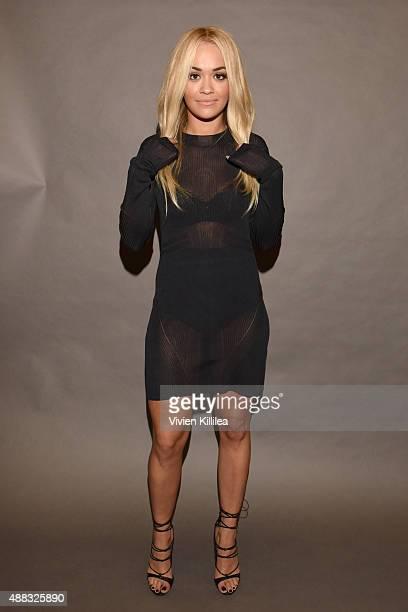 Singer Rita Ora poses backstage at Vera Wang Spring 2016 during New York Fashion Week at Cedar Lake on September 15 2015 in New York City