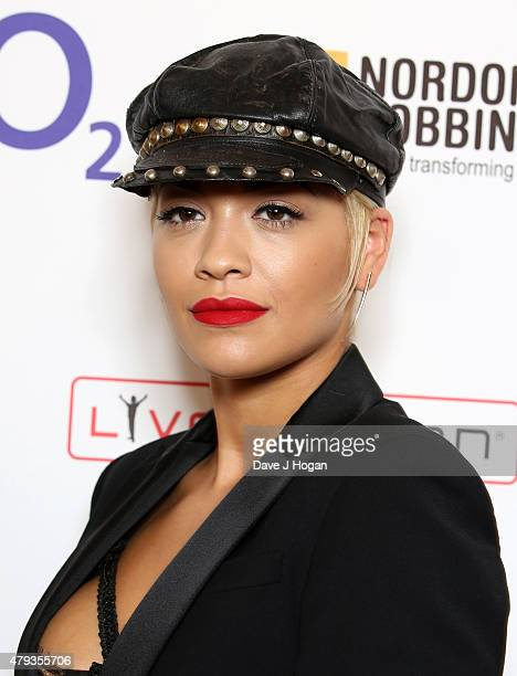 Singer Rita Ora with her Best Female award during the Nordoff Robbins O2 Silver Clef awards at the Grosvenor House Hotel on July 3 2015 in London...