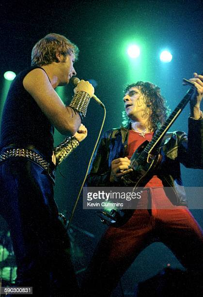 Singer Rob Halford and guitarist Glenn Tipton performing with British heavy metal group Judas Priest at the Liverpool Empire 13th May 1979