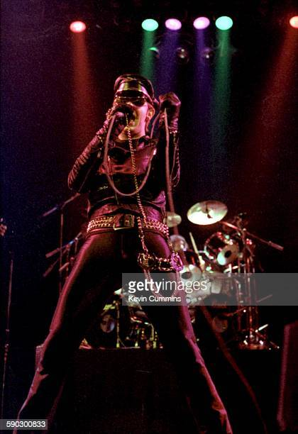 Singer Rob Halford performing with British heavy metal group Judas Priest at the Liverpool Empire 13th May 1979