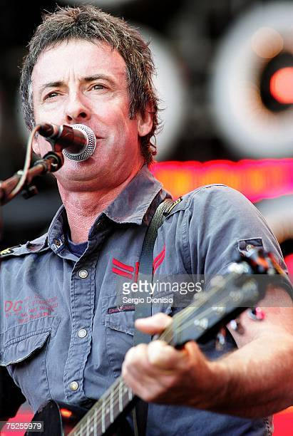Singer Rob Hirst of Ghostrighters and also Midnight Oil performs on stage at the Australian leg of the Live Earth series of concerts at Aussie...