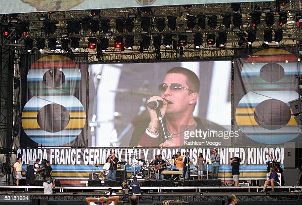 Singer Rob Thomas is seen on a Jumbotron screen as he performs on stage during rehearsals for Live 8 at the Philadelphia Museum of Art July 1, 2005...