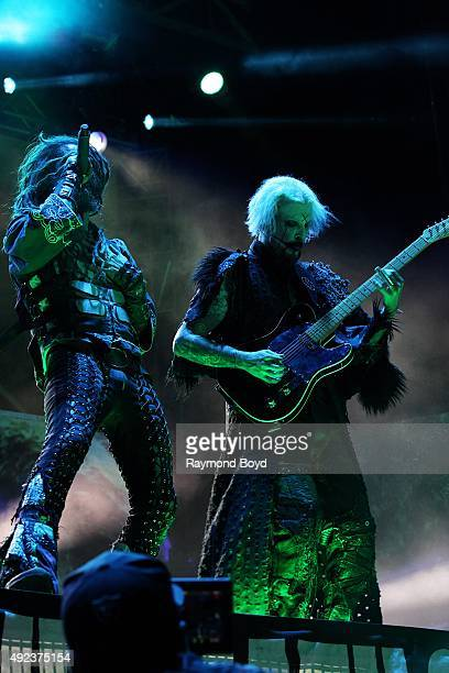 Singer Rob Zombie and musician John 5 performs during the 'Louder Than Life' festival at Champions Park on October 3 2015 in Louisville Kentucky
