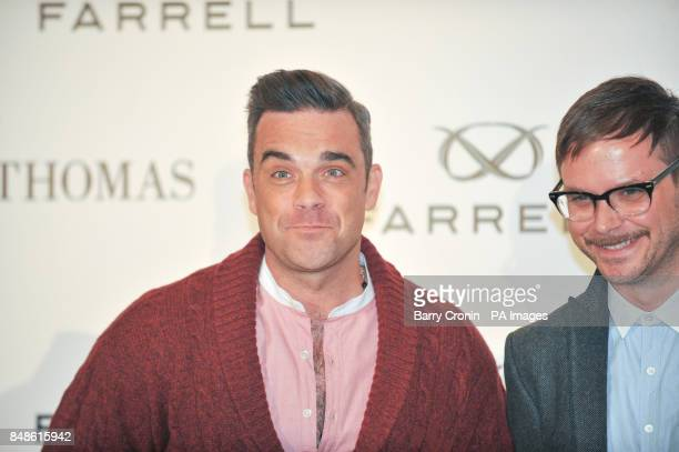 Singer Robbie Williams and Ben Dickens Head of Design at the launch of Farrell the brand inspired by Irishman Jack Farrell at Brown Thomas Dublin