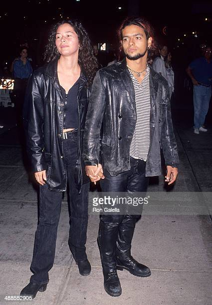 Singer Robby Rosa and wife Angela Alvarado attend the 'Twenty Bucks' Santa Monica Premiere on October 20 1993 at the Mann Criterion Theatre in Santa...
