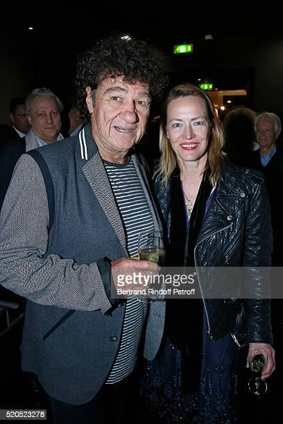 Singer Robert Charlebois and actress Gabrielle Lazure pose after the Robert Charlebois 50 ans 50 chansons Concert at Bobino on April 11 2016 in Paris...