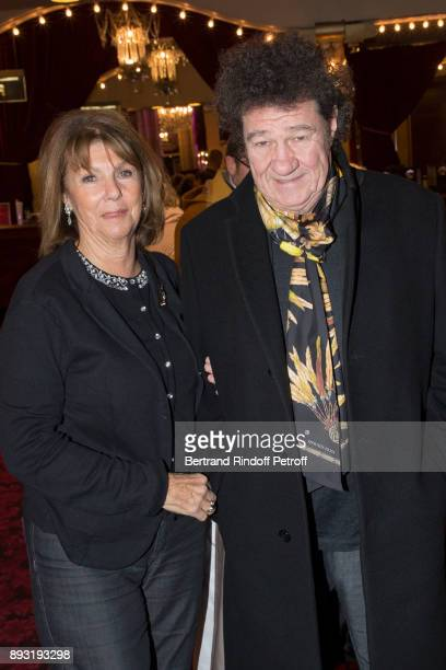 Singer Robert Charlebois and his wife Laurence attend Michel Leeb 40 ans Theater Show at Casino de Paris on December 14 2017 in Paris France