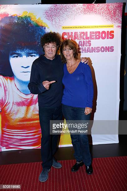 Singer Robert Charlebois poses with his wife Laurence before his 50 ans 50 chansons Concert at Bobino on April 11 2016 in Paris France