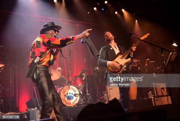 Singer Robert Finley and musician Dan Auerbach perform at Ryman Auditorium on February 25 2018 in Nashville Tennessee