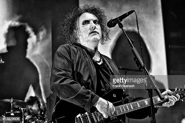Image has been converted to black and white Singer Robert James Smith of the British band The Cure performs live during a concert at the MercedesBenz...
