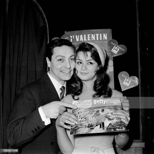 Singer Robert Jeantal and Actress Marie Versini pose as Lovers 1959 on the occasion of Valentine's Day on January 22 1959