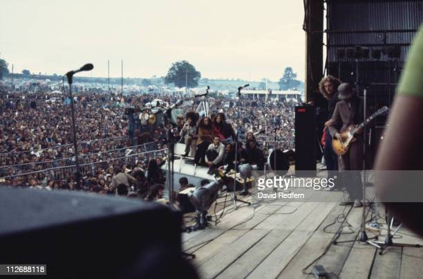 Singer Robert Plant and guitarist Jimmy Page of British rock band Led Zeppelin performing on stage at the Bath Festival of Blues and Progressive...