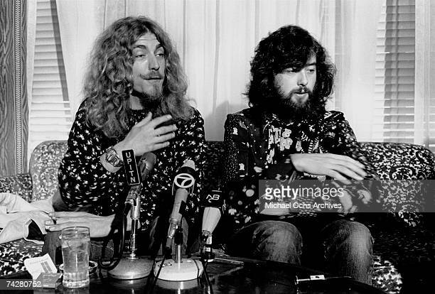 Singer Robert Plant and guitarist Jimmy Page of the rock band 'Led Zeppelin' hold court at a press conference before their concert at the Forum on...