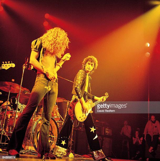 Robert Plant Jimmy Page performing live onstage during filming for 'The Song Remains The Same'