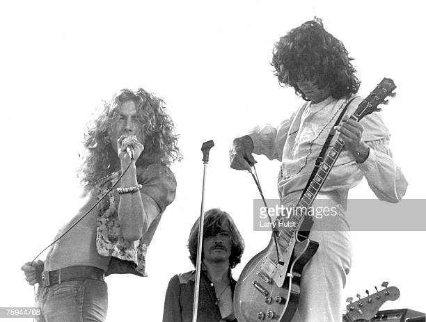 Singer Robert Plant bassist John Paul Jones and guitarist Jimmy Page of the Led Zeppelin perform at Kezar Stadium on June 2 1973 in San Francisco...
