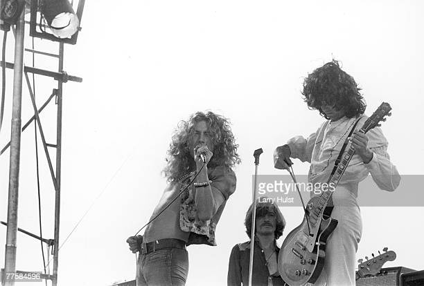 Singer Robert Plant bassist John Paul Jones and guitarist Jimmy Page of the rock band 'Led Zeppelin' perform at Kezar Stadium on June 2 1973 in San...