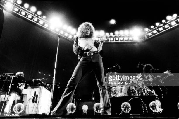Singer Robert Plant of British band Led Zeppelin performing on stage at Earl's Court in London England in May 1975
