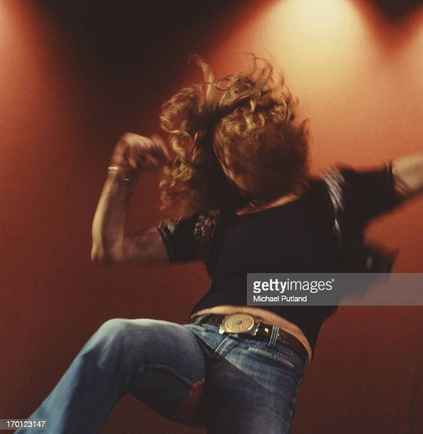 Singer Robert Plant of British rock band Led Zeppelin performing on stage at the Empire Pool Wembley London 23rd November 1971