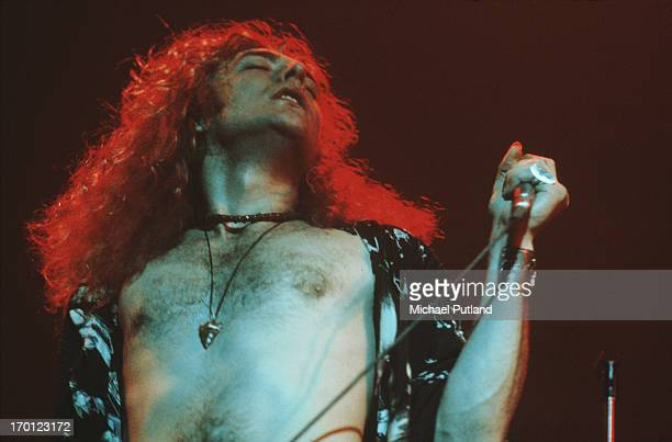 Singer Robert Plant of British rock band Led Zeppelin performing on stage 1971
