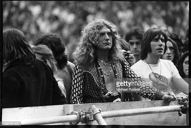 Singer Robert Plant of British rock band Led Zeppelin watches a concert in the 1970's