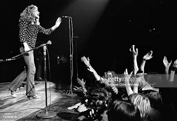 Singer Robert Plant of the rock band Led Zeppelin performs onstage at the Forum on September 4 1970 in Los Angeles California