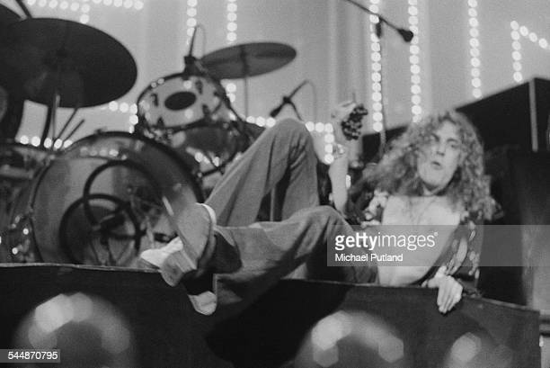 Singer Robert Plant on stage with British heavy rock group Led Zeppelin at Earl's Court London May 1975 The band were initially booked to play three...