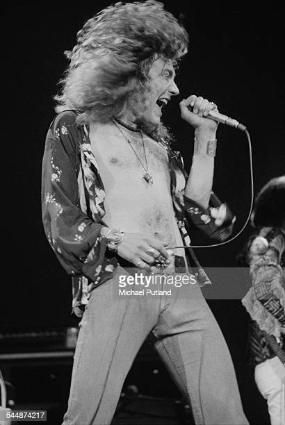 Singer Robert Plant performing with British heavy rock group Led Zeppelin, at Earl's Court, London, May 1975. The band were initially booked to play...