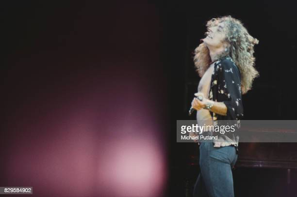 Singer Robert Plant performing with British rock group Led Zeppelin at Earl's Court London May 1975 The band were initially booked to play three...
