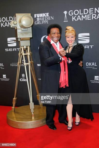 Singer Roberto Blanco and his wife Luzandra Blanco arrives for the Goldene Kamera on March 4 2017 in Hamburg Germany