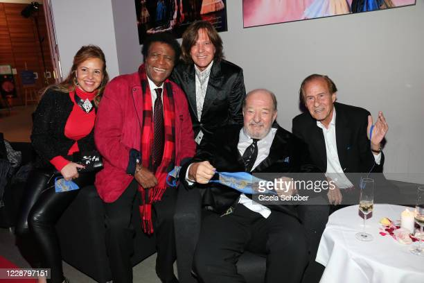 Singer Roberto Blanco and his wife Luzandra Strassburg , Juergen Drews, Ralph Siegel and Michael Holm during the 75th birthday party of Ralph Siegel...