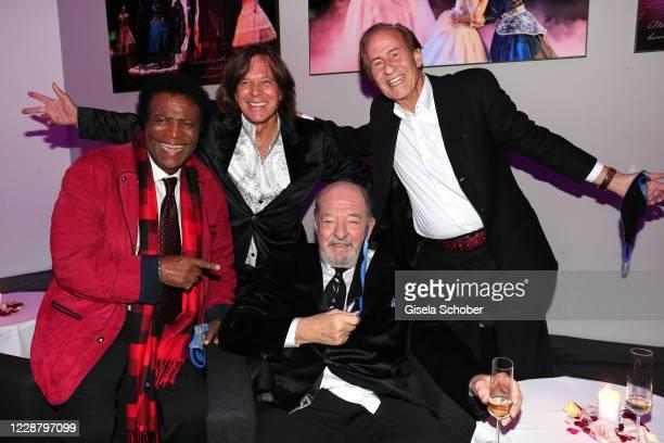 "Singer Roberto Blanco, Juergen Drews, Ralph Siegel and Michael Holm during the 75th birthday party of Ralph Siegel ""Masquerade"" at Festspielhaus..."