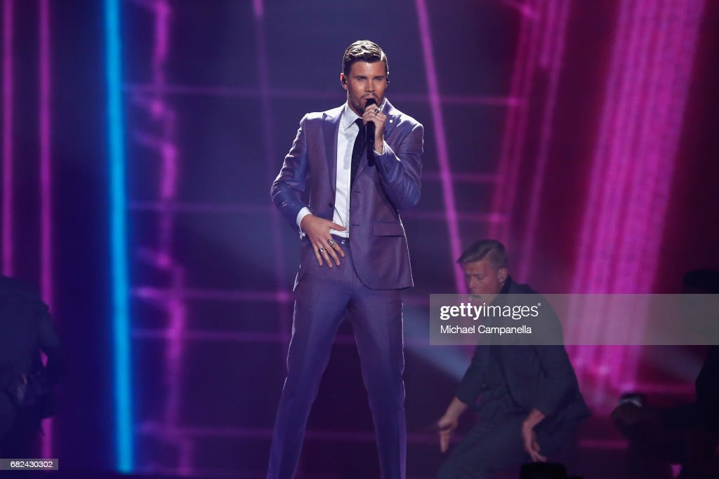 Singer Robin Bengtsson, representing Sweden, performs the song 'I Can't Go On' during the rehearsal for ''The final of this year's Eurovision Song Contest'' at International Exhibition Centre (IEC) on May 12, 2017 in Kiev, Ukraine. The final of this years Eurovision Song Contest will be aired on May 13, 2017.