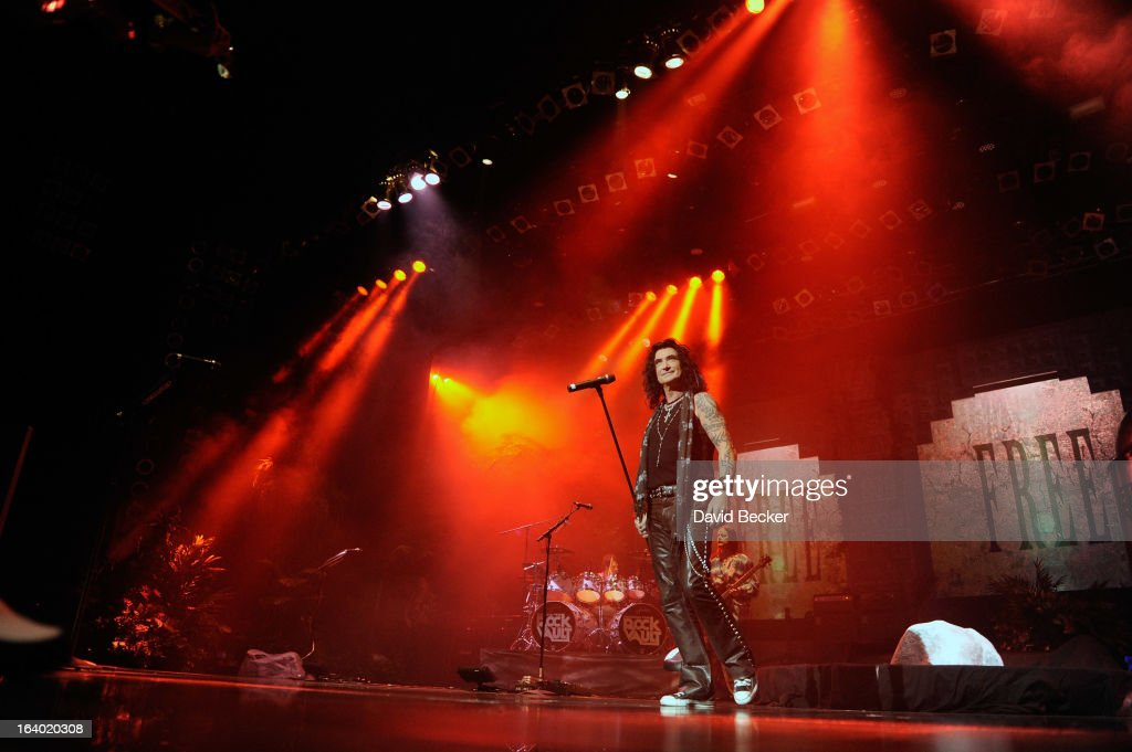 Singer Robin McAuley performs in the grand opening of 'Raiding the Rock Vault' at the Las Vegas Hotel & Casino on March 18, 2013 in Las Vegas, Nevada.