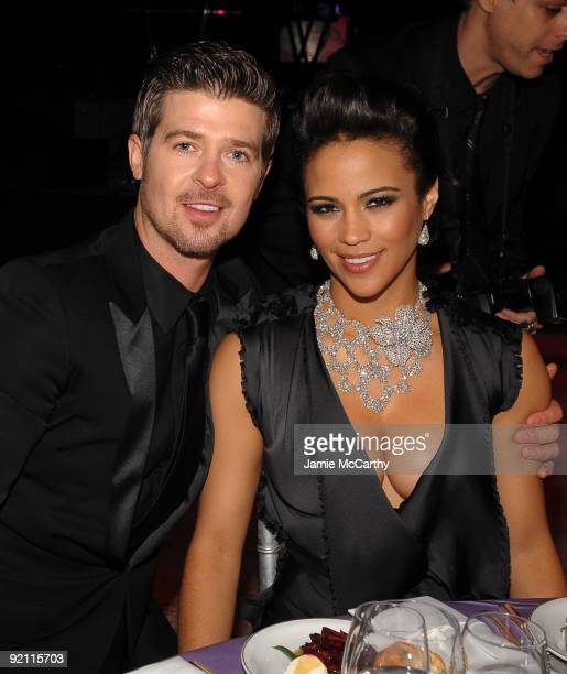 Singer Robin Thicke and actress Paula Patton attend 2009 Angel Ball to Benefit Gabrielle�s Angel Foundation hosted by Denise Rich at Cipriani Wall...