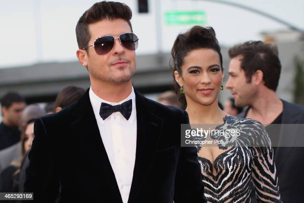 Singer Robin Thicke and actress Paula Patton attend the 56th GRAMMY Awards at Staples Center on January 26 2014 in Los Angeles California