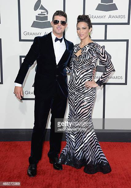 Singer Robin Thicke and actress Paula Patton attends the 56th GRAMMY Awards at Staples Center on January 26 2014 in Los Angeles California