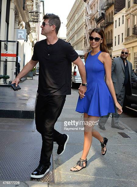 Singer Robin Thicke and April Love Geary are seen walking in Soho on June 8 2015 in New York City