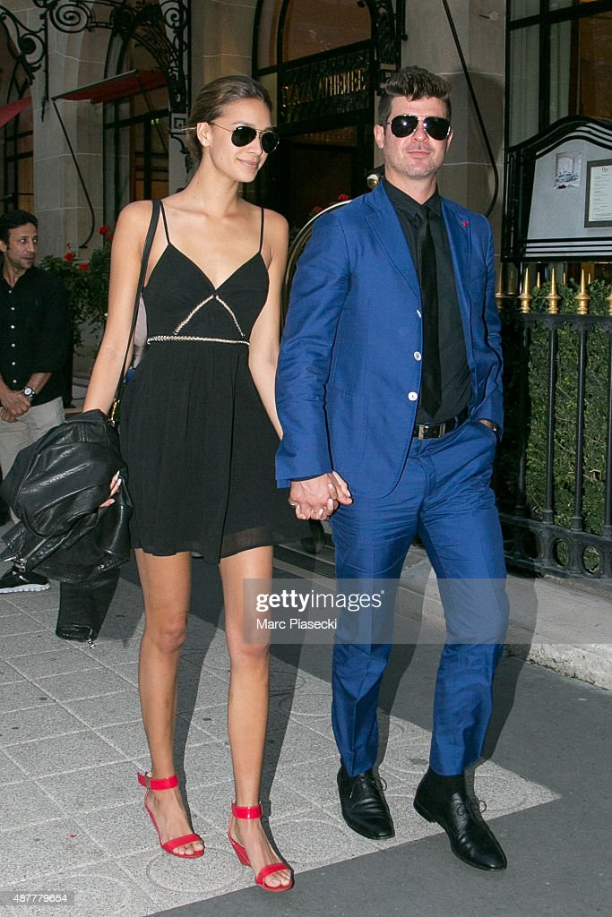 Robin Thicke & April Love Geary Sighting In Paris  -  September 11, 2015 : News Photo