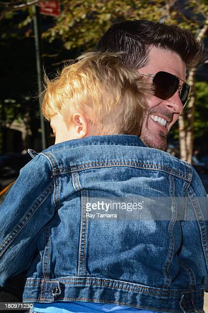 Singer Robin Thicke and Julian Fuego Thicke enters their Tribeca hotel on September 18 2013 in New York City
