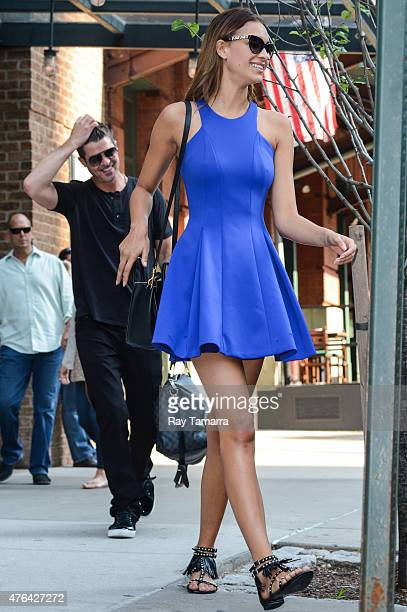 Singer Robin Thicke and model April Love Geary leave their Tribeca hotel on June 8 2015 in New York City