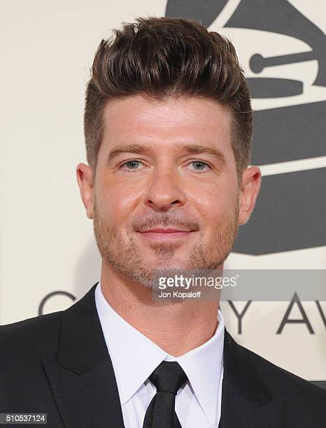 Singer Robin Thicke arrives at The 58th GRAMMY Awards at Staples Center on February 15 2016 in Los Angeles California